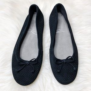 Aerosoles Bow Ballet Black Suede Flats 6.5